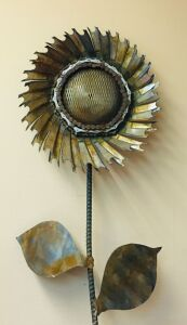 Metal Sunflower and Wine Barrel Planter