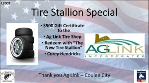 $500 Gift Certificate at Ag Link Tire Shop, Coulee City