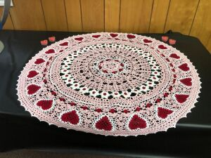 "Crocheted Valentine 33"" Table Topper"