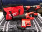 #1087 Never Used Milwaukee M18 Drill, Impact, Recip Saw, Dual Battery Charger and Bag